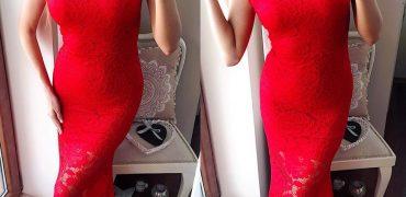 rochie lunga rosie dantela